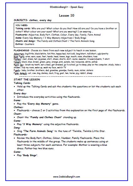 Speak Easy - Lesson Plan 10
