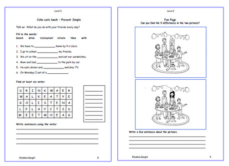 Level 2 pages 5 & 9  - Comprehension Present Simple and Fun Review Page