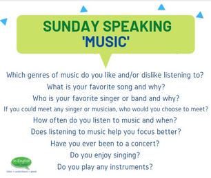 Sunday Speaking Subjects - Music