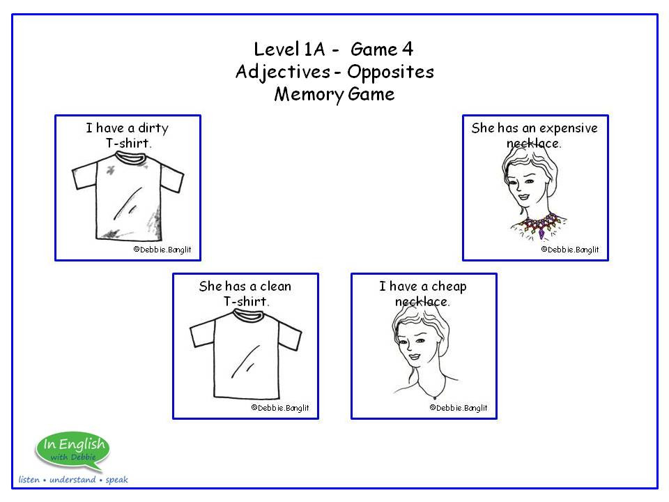 ESL Card game - Adjectives / Opposites - Memory Game