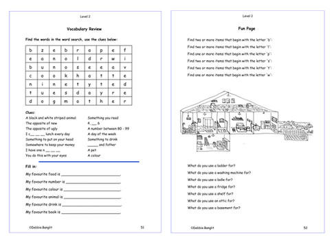 Level 2 pages 51 & 52  - A Vocabulary Review and a Fun Page