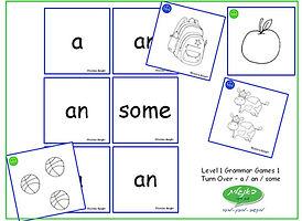 ESL DebbieBanglit Level 1 Grammar Game - Turn Over - a an some