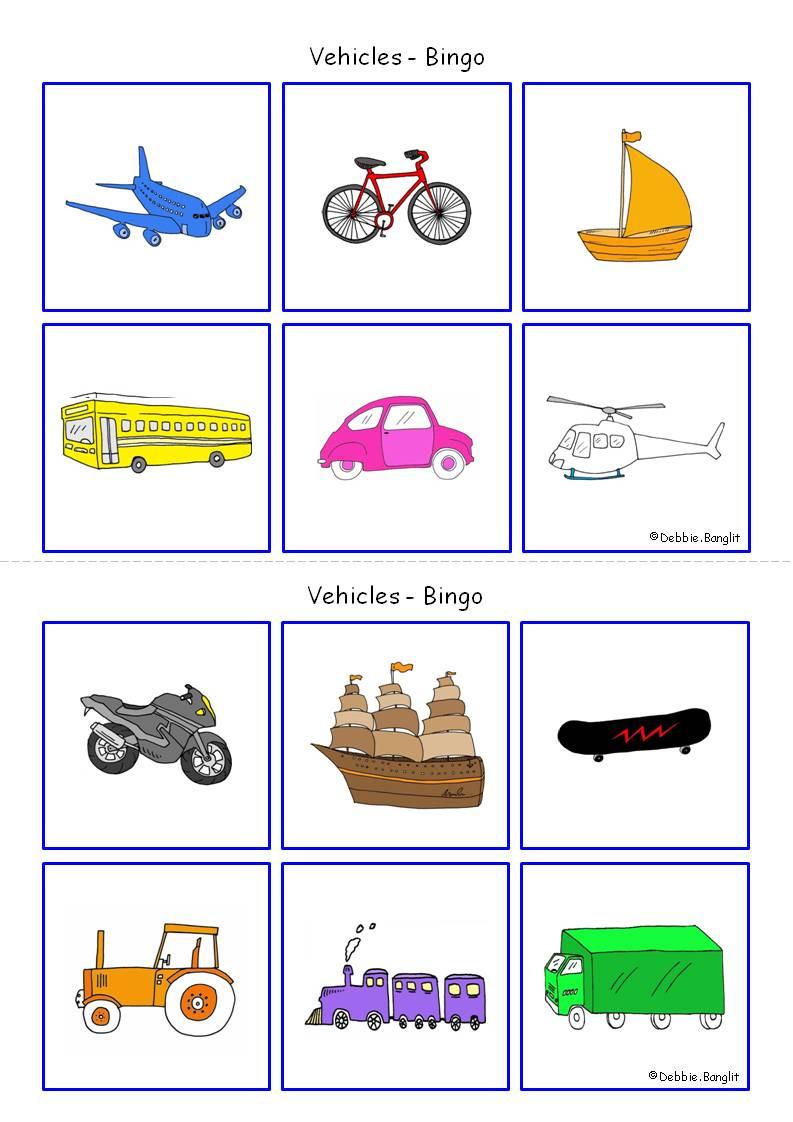 Speak Easy ESL Vehicles Bingo