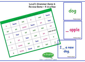 Level 1 DebbieBanglit Grammar Game - 4 in a Row - Review Tenses