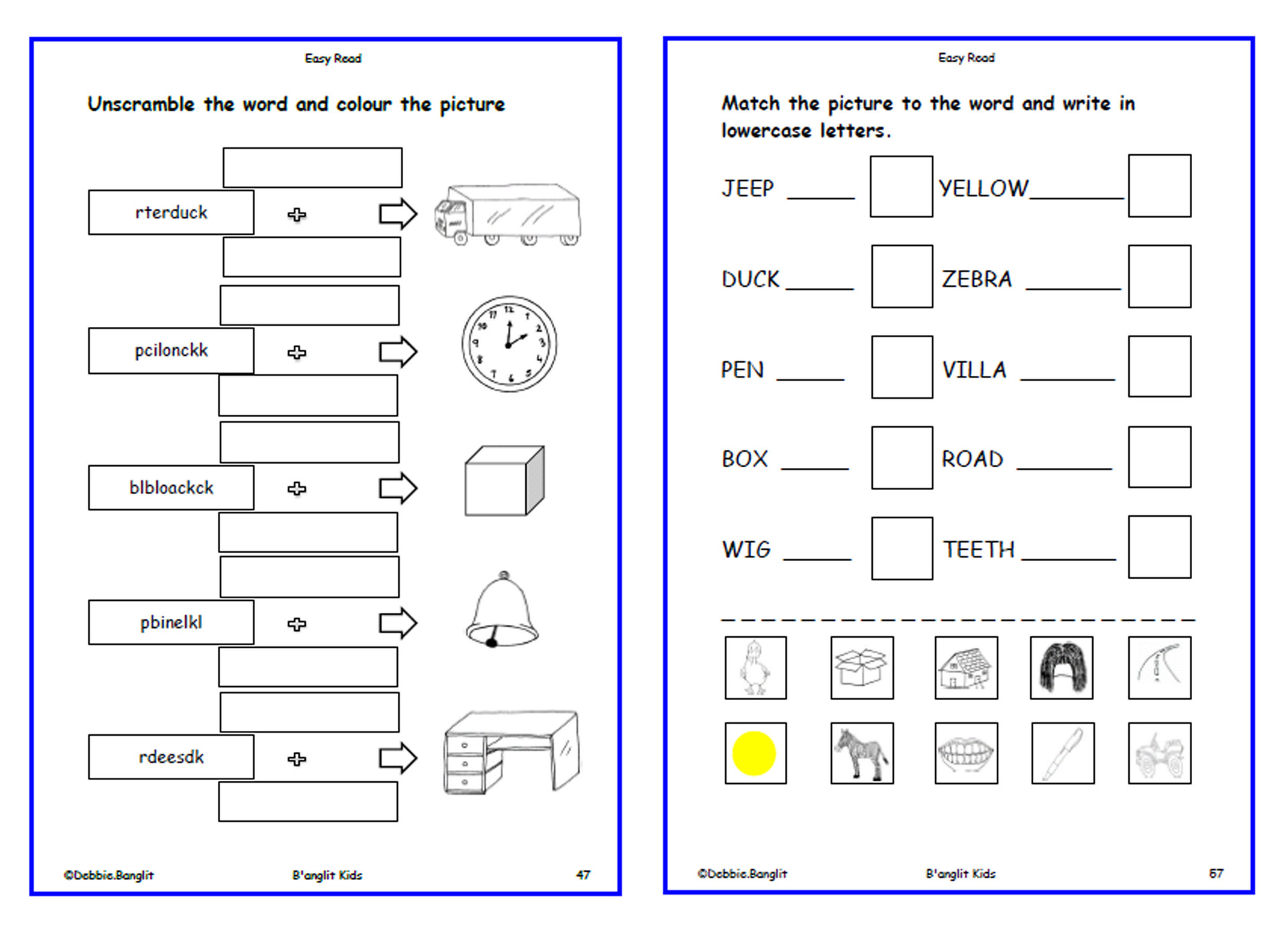 Easy Read - worksheets 47 & 57