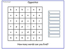 Opposites Word Search
