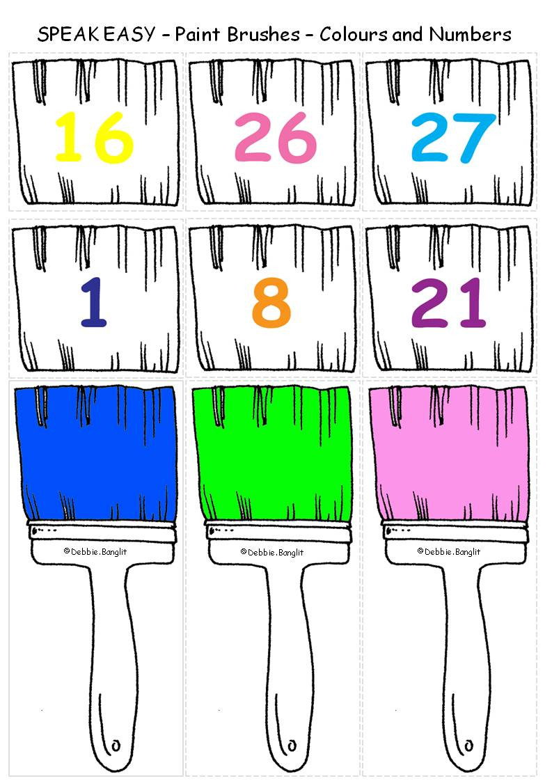 Speak Easy ESL Paintbrushes Numbers and Colours