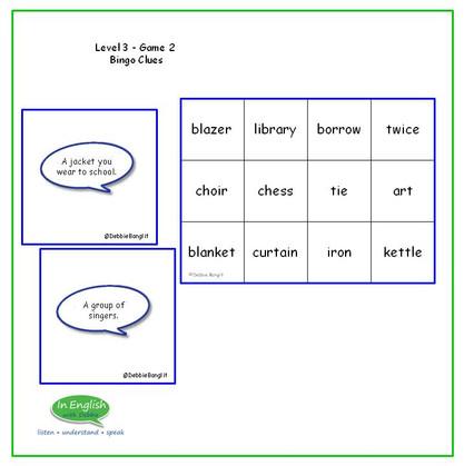 Level 3 #2 Bingo Clues - Vocabulary