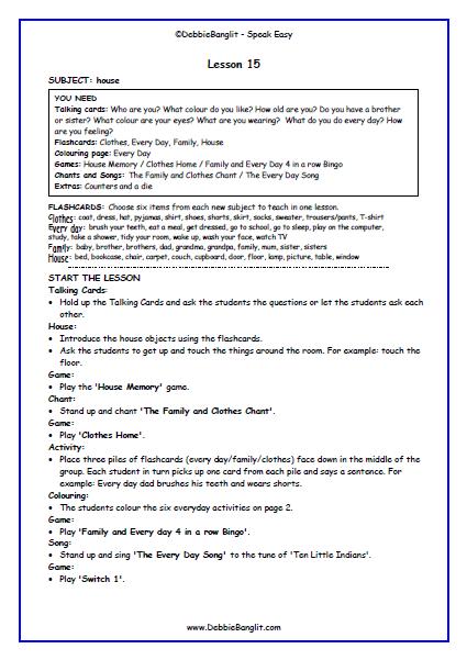 Speak Easy - Lesson Plan 15