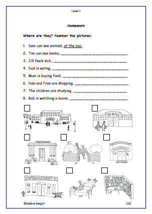 Level 1 - Pets Homework page