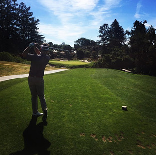 Teeing off at number 18 at Pasatiempo