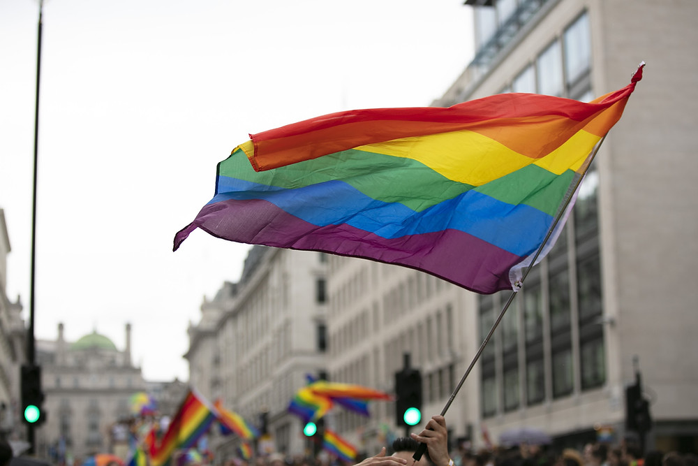 LGBTQ rainbow flags being waved in the air at a pride event
