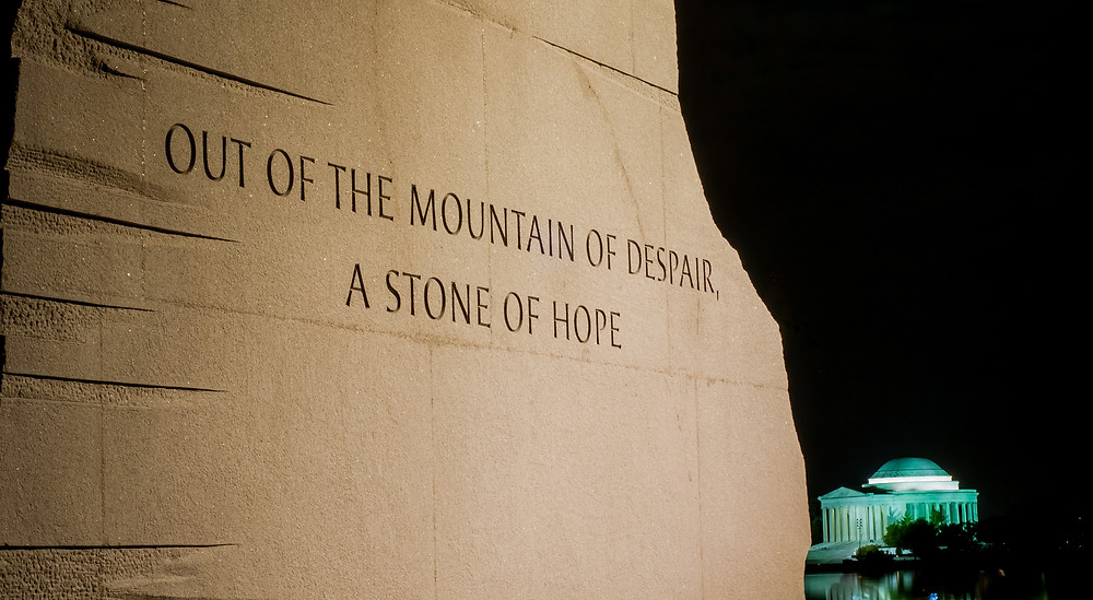 Inscription on the Martin Luther King Jr Memorial with Jefferson Memorial