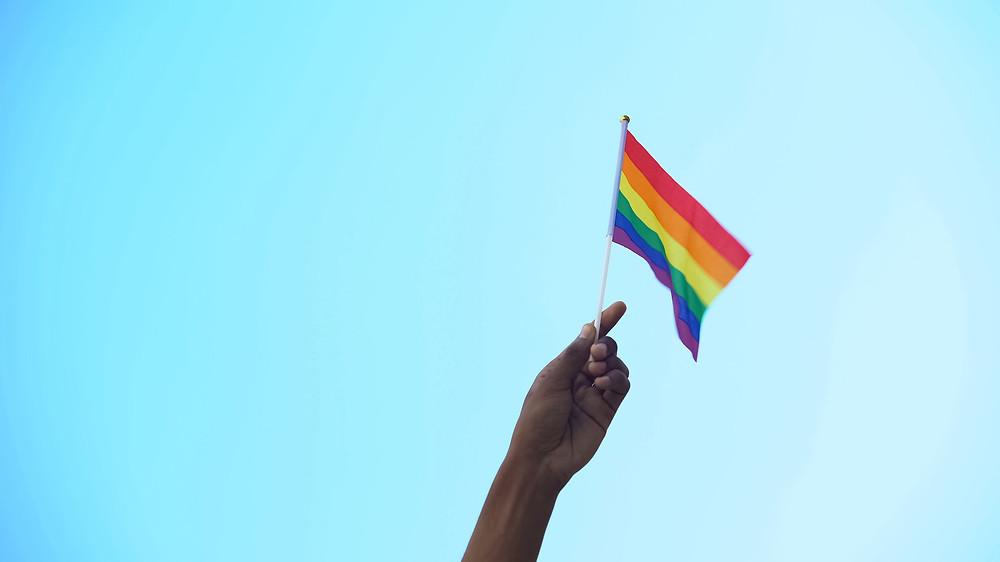person hand holding flag of lgbtiq minority flag