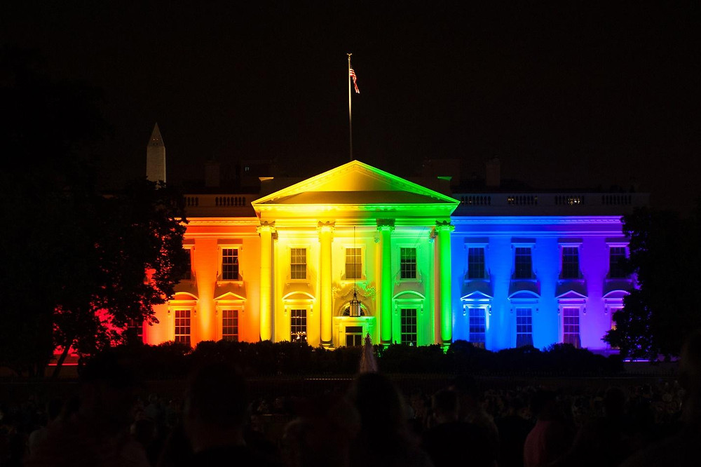 The white house with rambow light