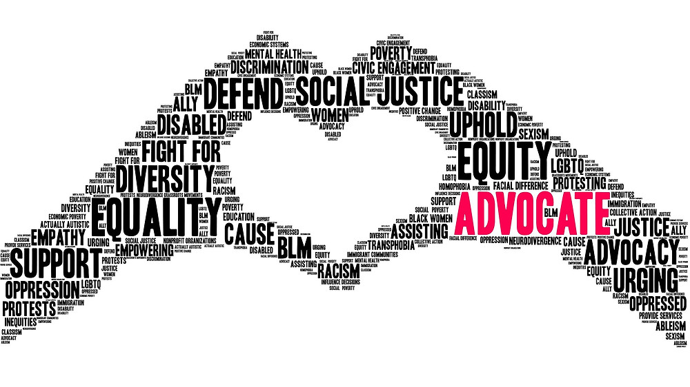 Advocate Word Cloud on a white background