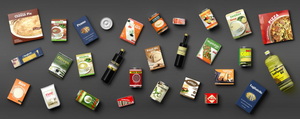 Collection of packaged food isolated on grey background