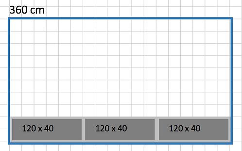 BEDD OBOS 360 x 40 h50 med bunn og ben