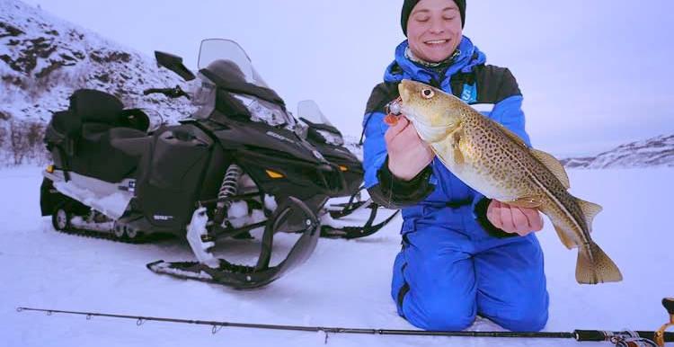 Ice fishing in Kirkenes, Norway