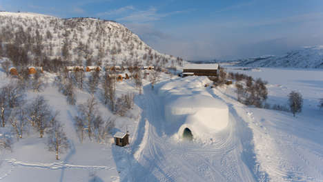 Snowhotel Kirkenes from the air