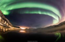 Aurora over the fjord