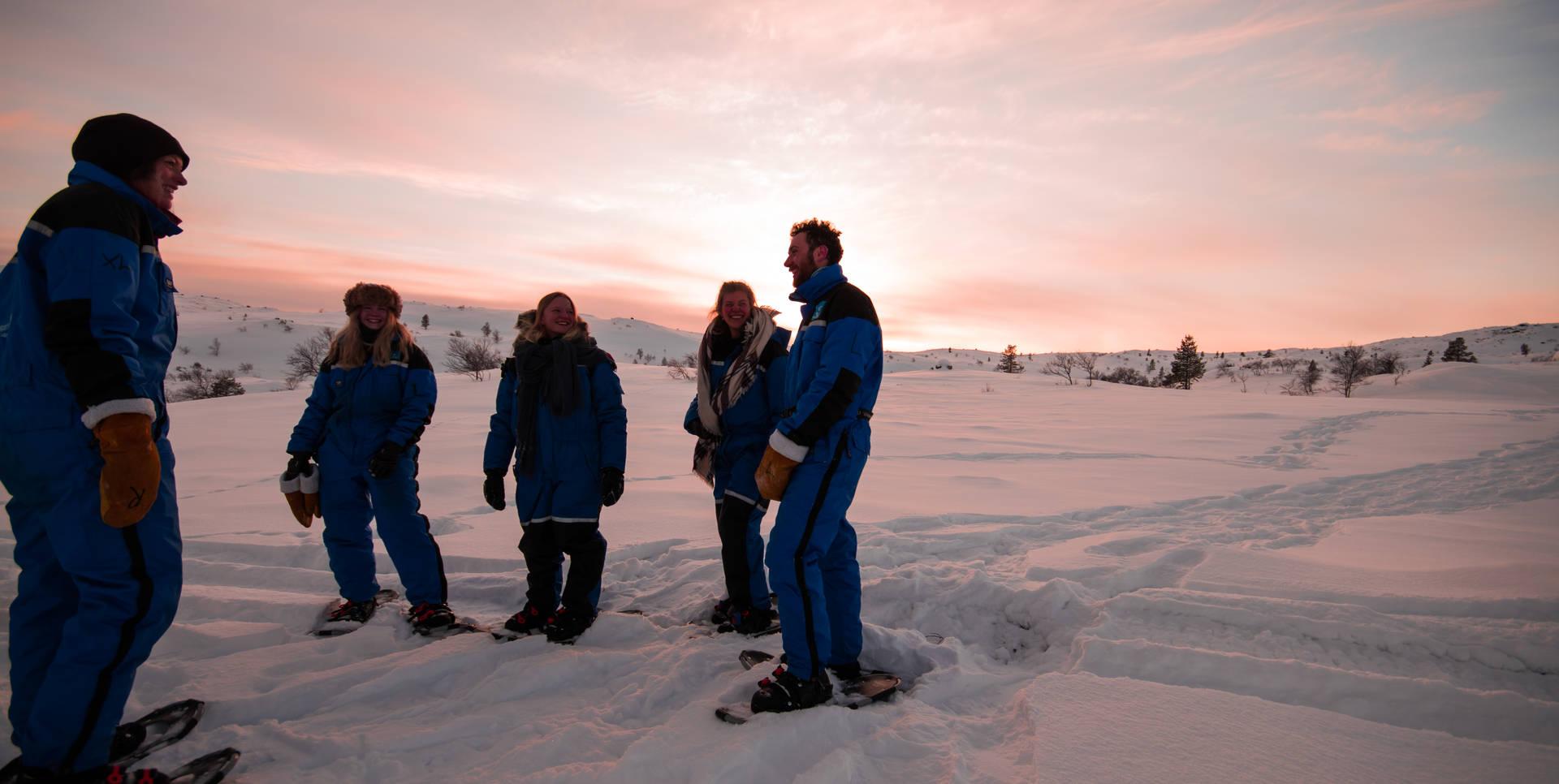 Snowshoe walking in Kirkenes, northern Norway