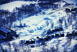Aerial shot of the Snowhotel
