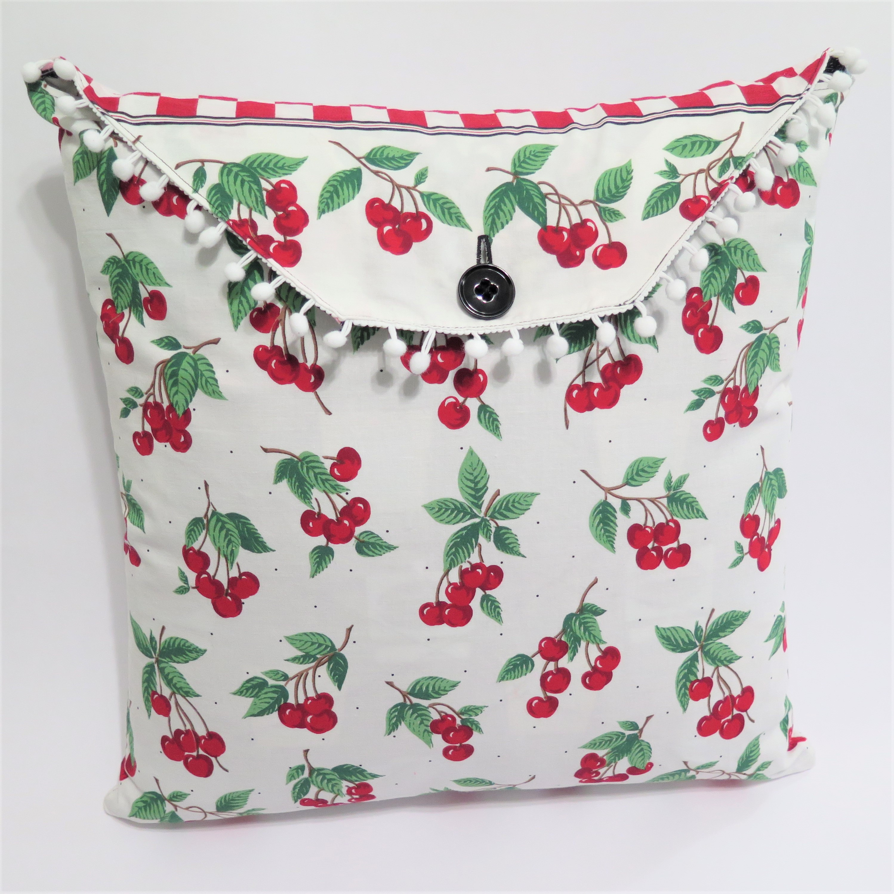 Black/Cherries Reversible Pillow Cover