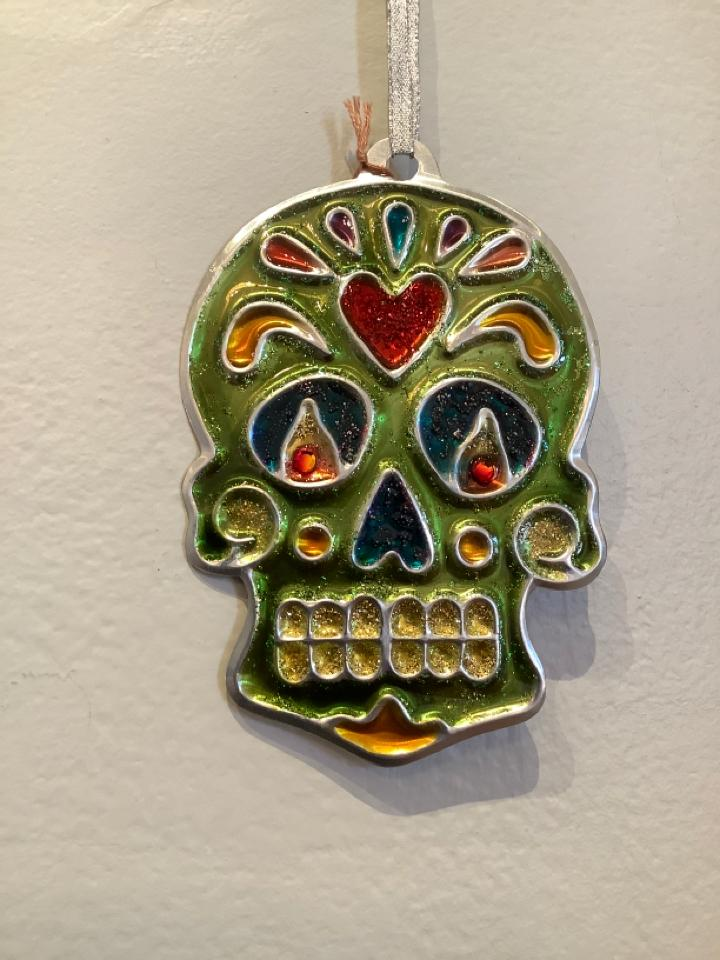 Lime Skull Ornament