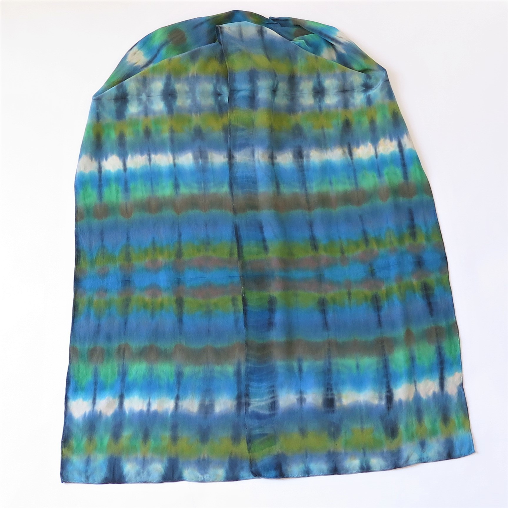 Blues-Greens-Browns Shibori Crepe Silk scarf