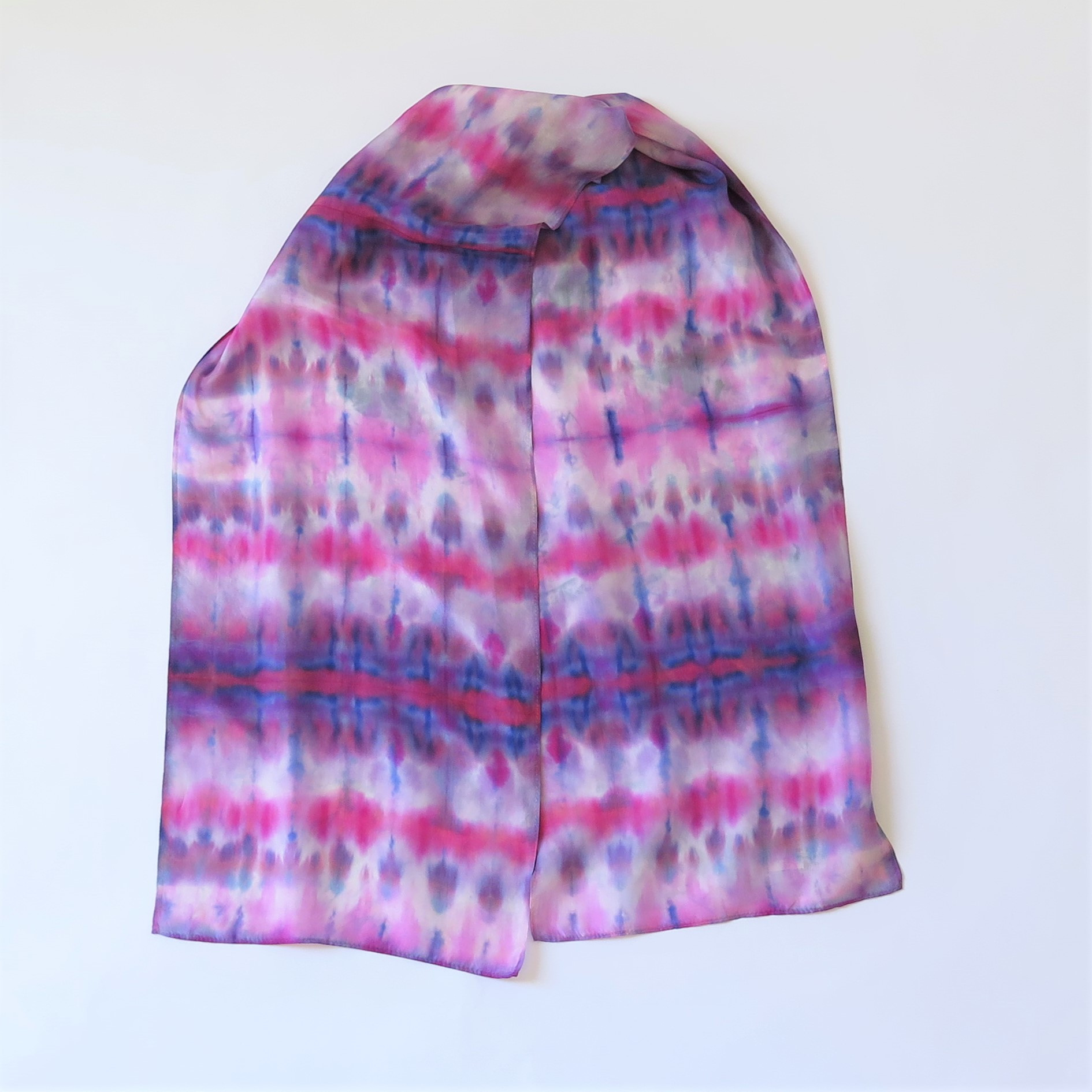 Magenta-Blue-Purple Shibori Silk scarf