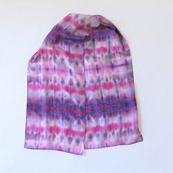 Magenta-Blue-Purple Shibori Silk scarf