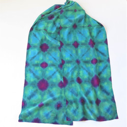 Turquoise-red-green crepe silk scarf