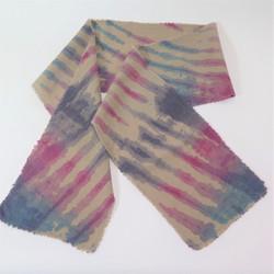 Turquoise-Raspberry-Purple wool scarf