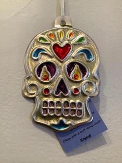 Silver skull ornament