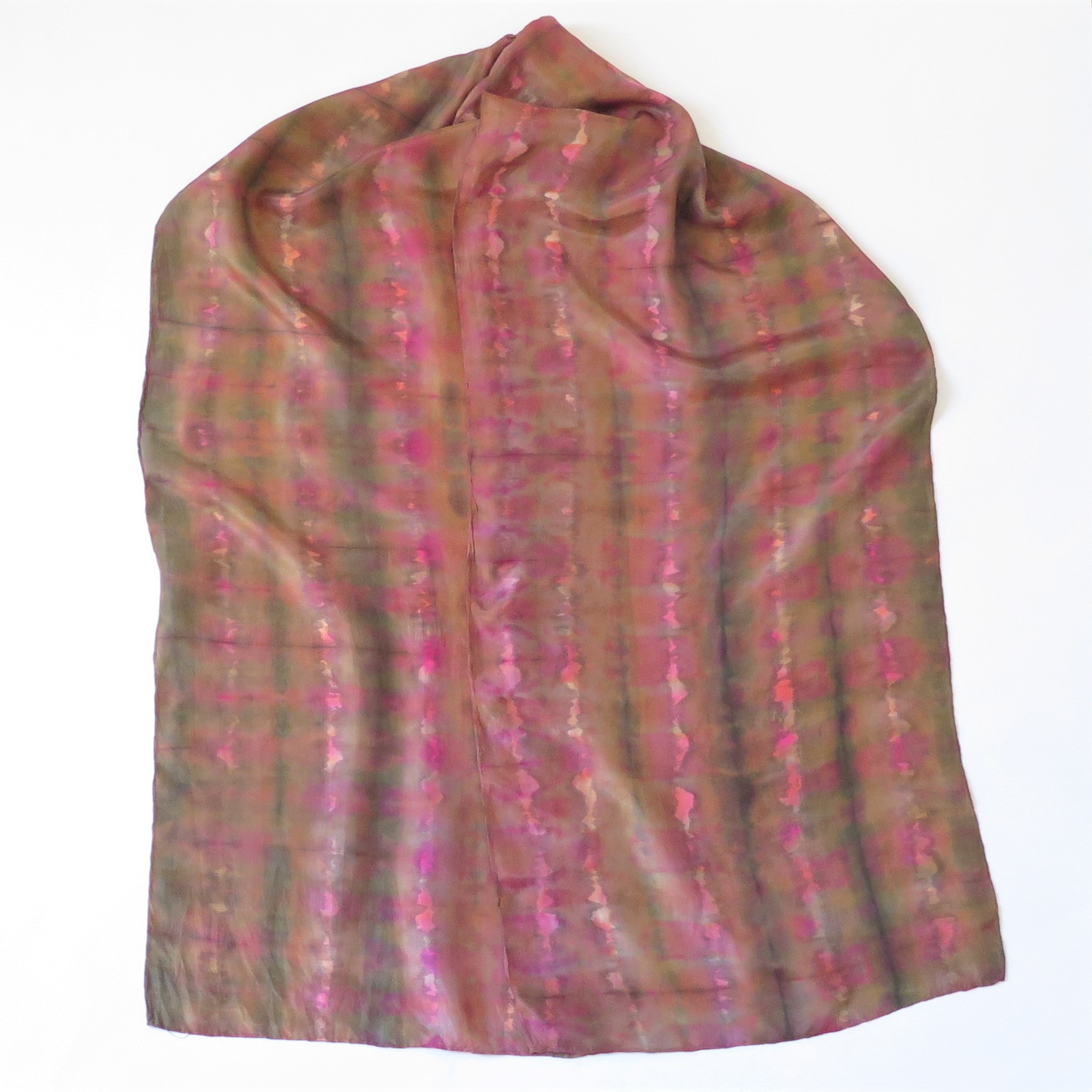 Pink-Gold-Green silk scarf