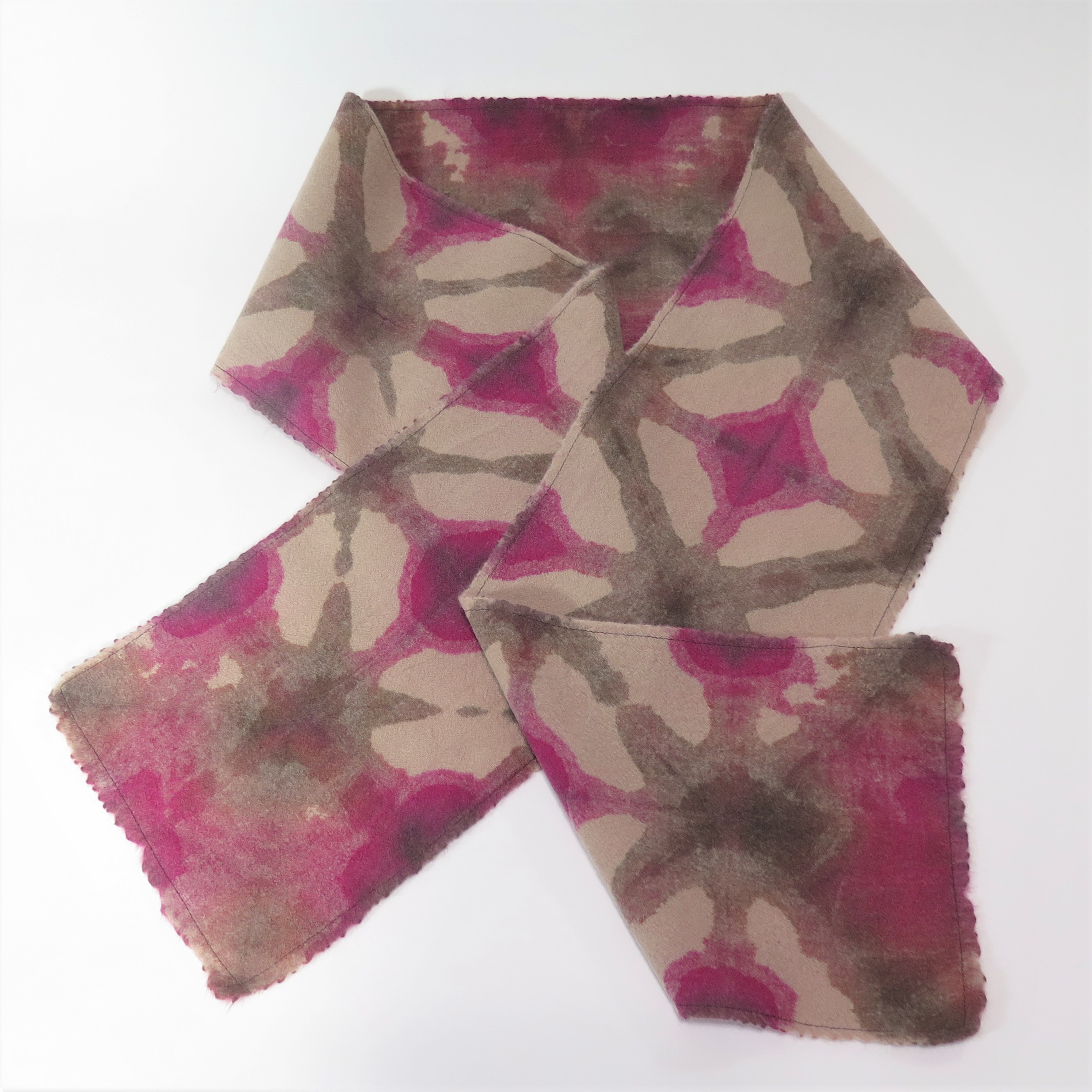 Raspberry and chocolate wool scarf