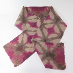 Raspberry and chocolate wool scarf