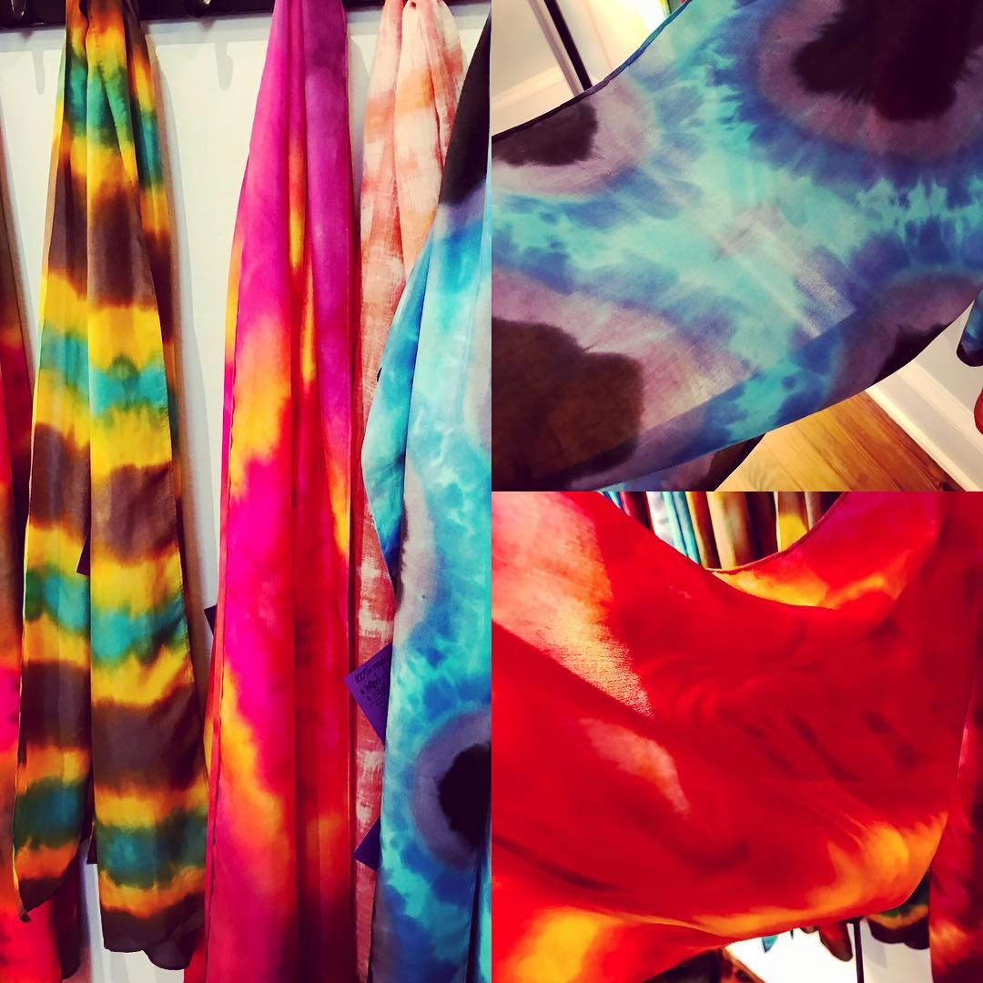 Hand-dyed silk and wool scarves