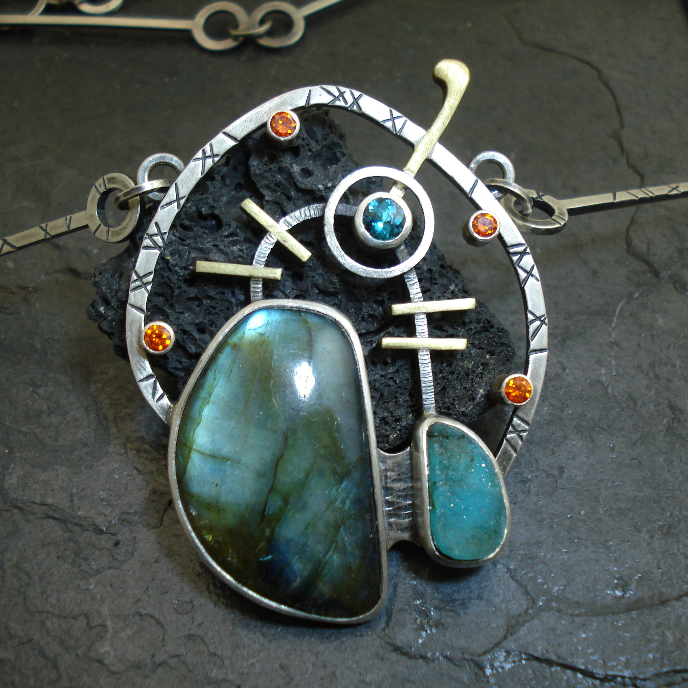 Blue Satellite. necklace
