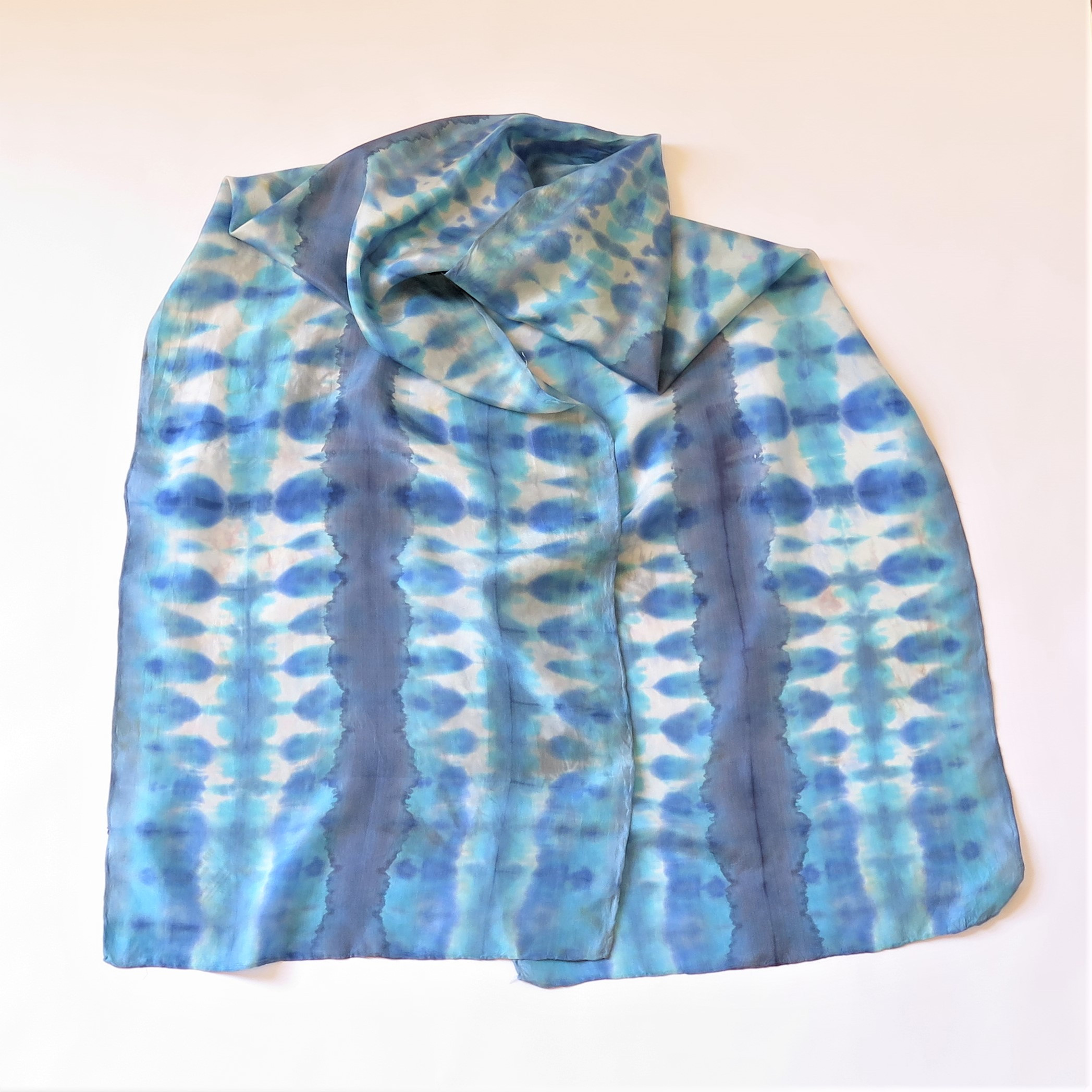Purple-Blue-White Shibori Silk scarf