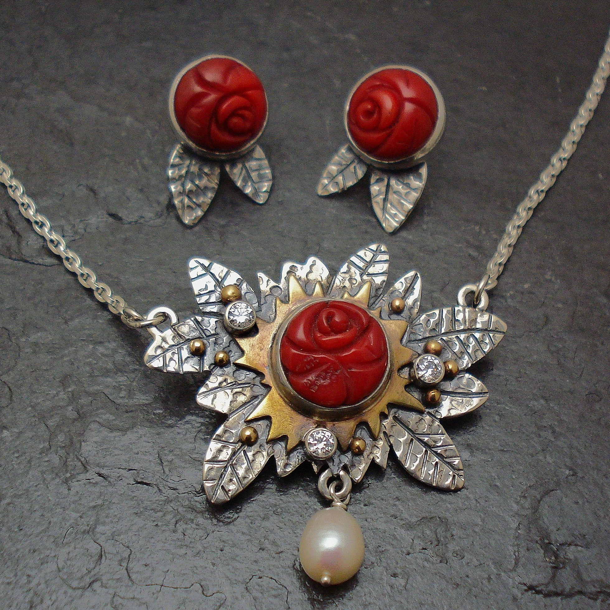 Our Rose Garden. necklace and eaarings