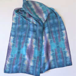 Purple-Blue-White Shibori Silk scarf