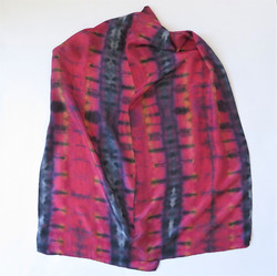 Reds-yellow-black silk scarf