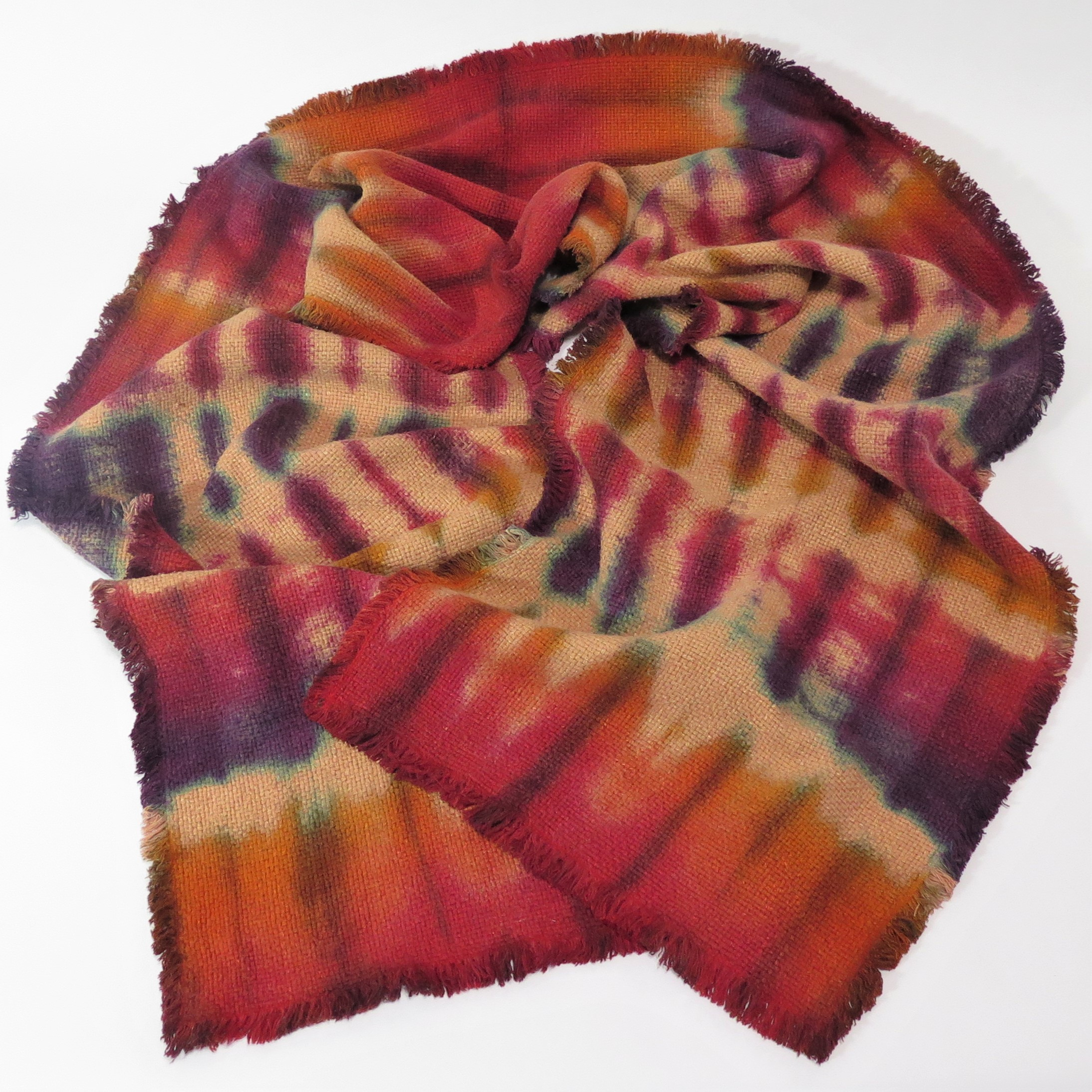Red Orange Purple Raw Silk Scarf