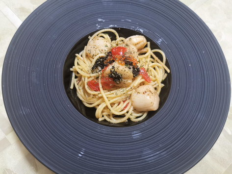 Recipe -Linguine with Scallops topped with Avruga and Trout Caviar
