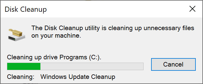Disk Cleanup Progress Window