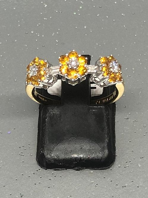 New 18ct Diamond & Yellow Sapphire Ring