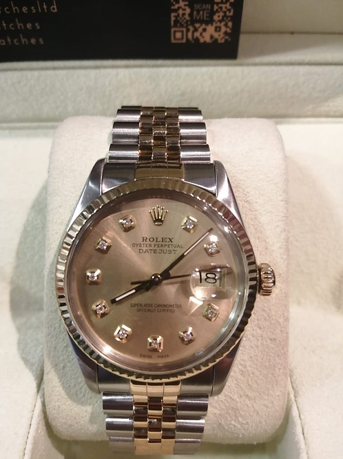 Gents Rolex Oyster Perpetual 18ct Gold & Steel Diamond Set Dial 1988 Watch