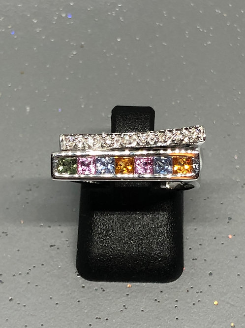 New 18ct Diamond & Multi Coloured Sapphire Ring